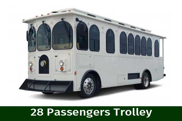White 28 Passenger Trolley